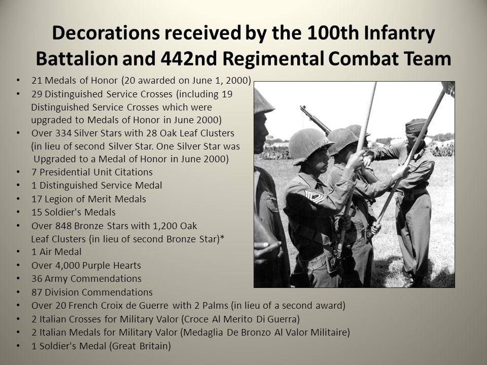 Decorations received by the 100th Infantry Battalion and 442nd Regimental Combat Team 21 Medals of Honor (20 awarded on June 1, 2000) 29 Distinguished