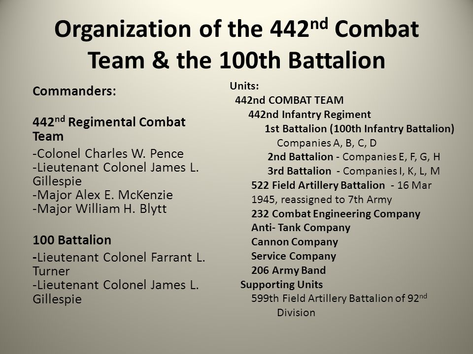 Organization of the 442 nd Combat Team & the 100th Battalion Commanders: 442 nd Regimental Combat Team -Colonel Charles W. Pence -Lieutenant Colonel J