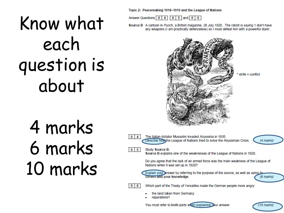Know what each question is about 4 marks 6 marks 10 marks
