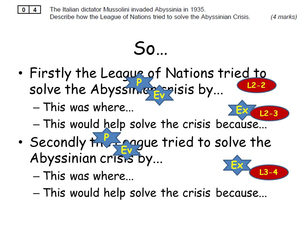 So… Firstly the League of Nations tried to solve the Abyssinian crisis by... – This was where... – This would help solve the crisis because... Secondl