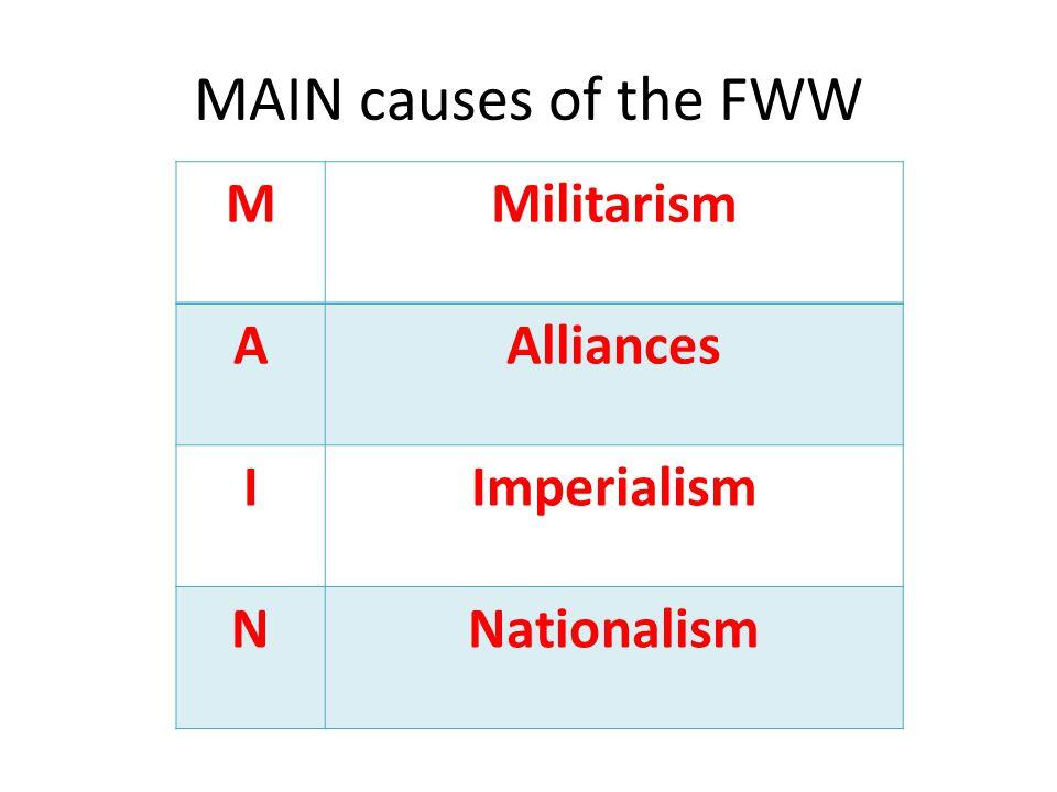 MAIN causes of the FWW MMilitarism AAlliances IImperialism NNationalism