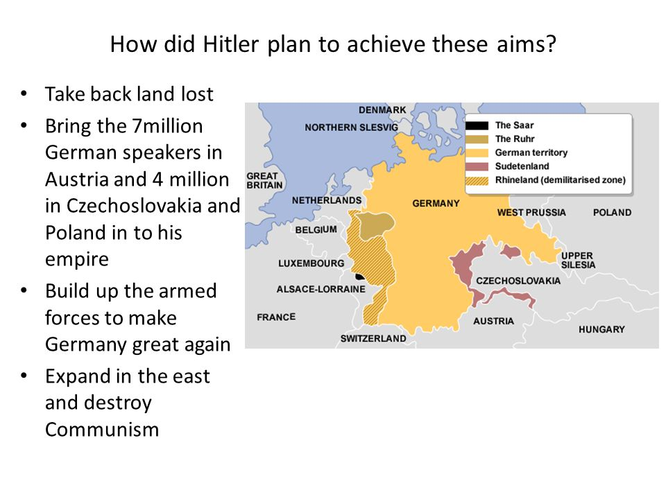 How did Hitler plan to achieve these aims? Take back land lost Bring the 7million German speakers in Austria and 4 million in Czechoslovakia and Polan