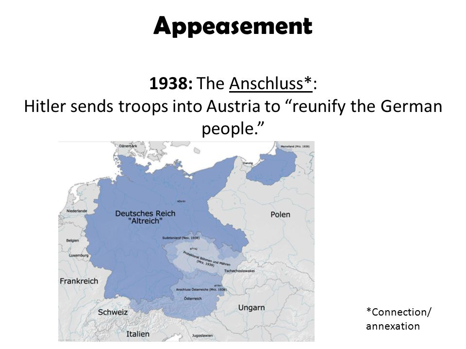 Appeasement 1938: The Anschluss*: Hitler sends troops into Austria to reunify the German people. *Connection/ annexation