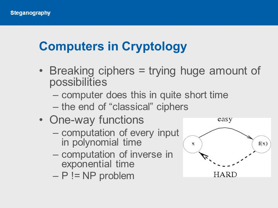 Computers in Cryptology Breaking ciphers = trying huge amount of possibilities –computer does this in quite short time –the end of classical ciphers One-way functions –computation of every input in polynomial time –computation of inverse in exponential time –P != NP problem