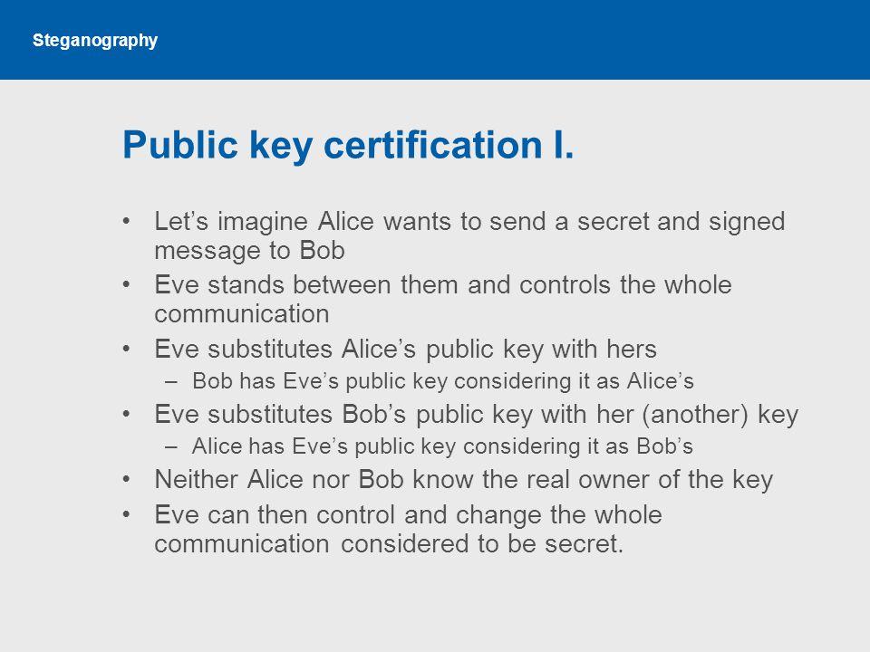 Steganography Public key certification I.