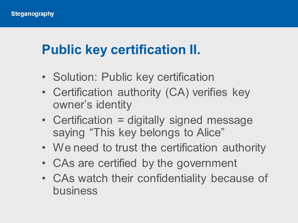 Steganography Public key certification II.