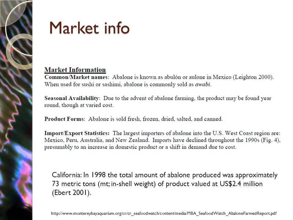 Market info http://www.montereybayaquarium.org/cr/cr_seafoodwatch/content/media/MBA_SeafoodWatch_AbaloneFarmedReport.pdf California: In 1998 the total amount of abalone produced was approximately 73 metric tons (mt; in-shell weight) of product valued at US$2.4 million (Ebert 2001).