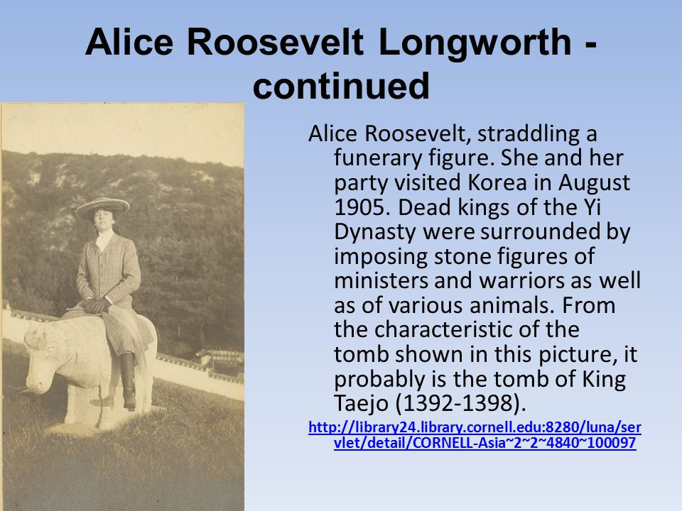 Alice Roosevelt Longworth - continued Alice Roosevelt, straddling a funerary figure.