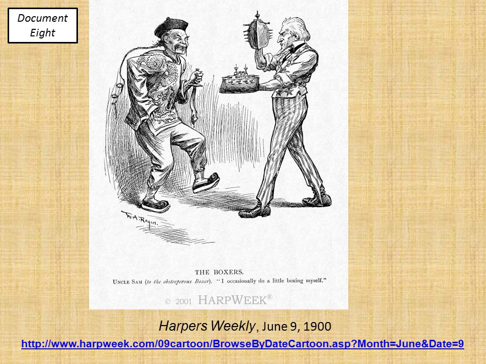 Harpers Weekly, June 9, 1900 http://www.harpweek.com/09cartoon/BrowseByDateCartoon.asp Month=June&Date=9 Document Eight