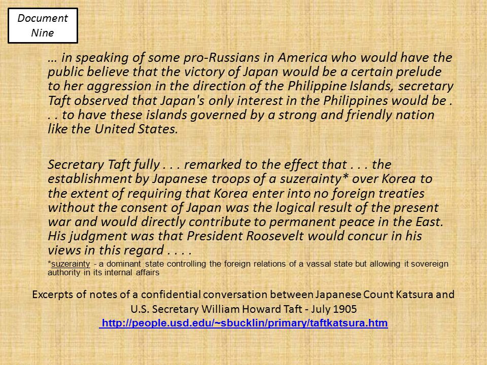 Excerpts of notes of a confidential conversation between Japanese Count Katsura and U.S.