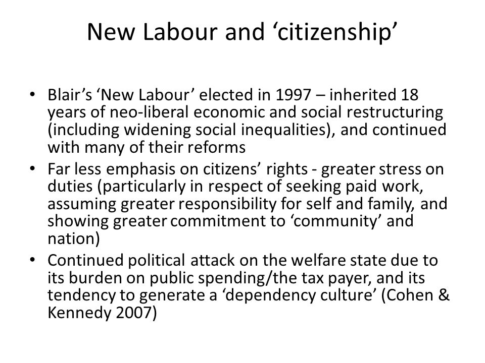 New Labour and 'citizenship' Blair's 'New Labour' elected in 1997 – inherited 18 years of neo-liberal economic and social restructuring (including wid