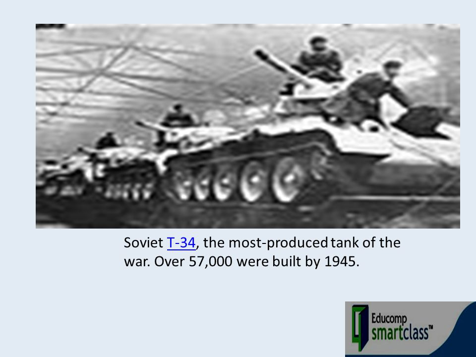 Soviet T-34, the most-produced tank of the war. Over 57,000 were built by 1945.T-34