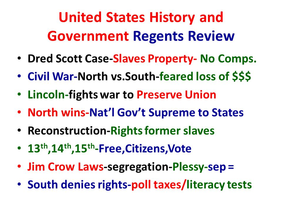 United States History and Government Regents Review Dred Scott Case-Slaves Property- No Comps.
