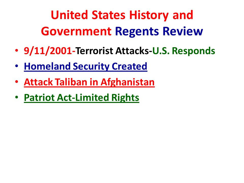 United States History and Government Regents Review 9/11/2001-Terrorist Attacks-U.S.