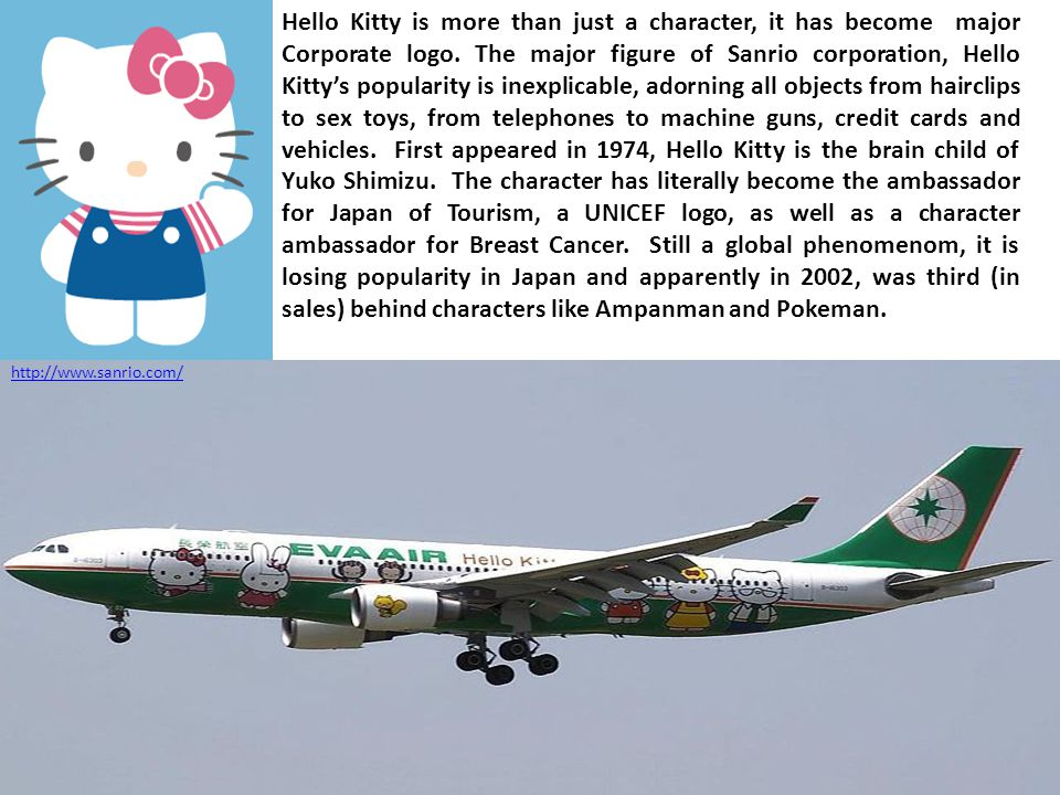 Hello Kitty is more than just a character, it has become major Corporate logo.