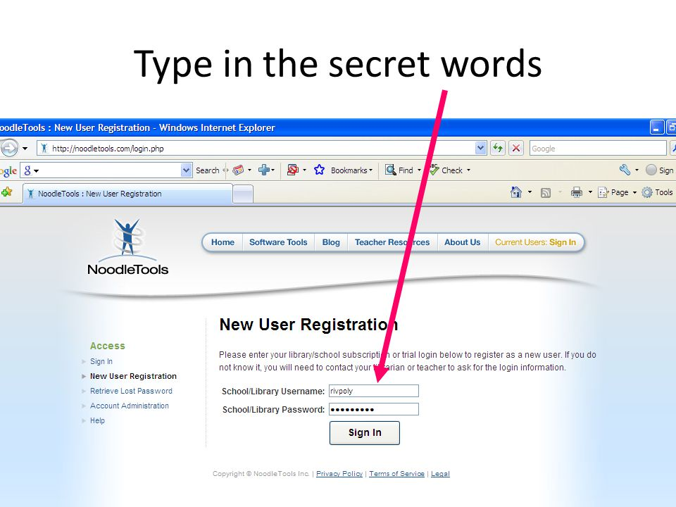 Type in the secret words