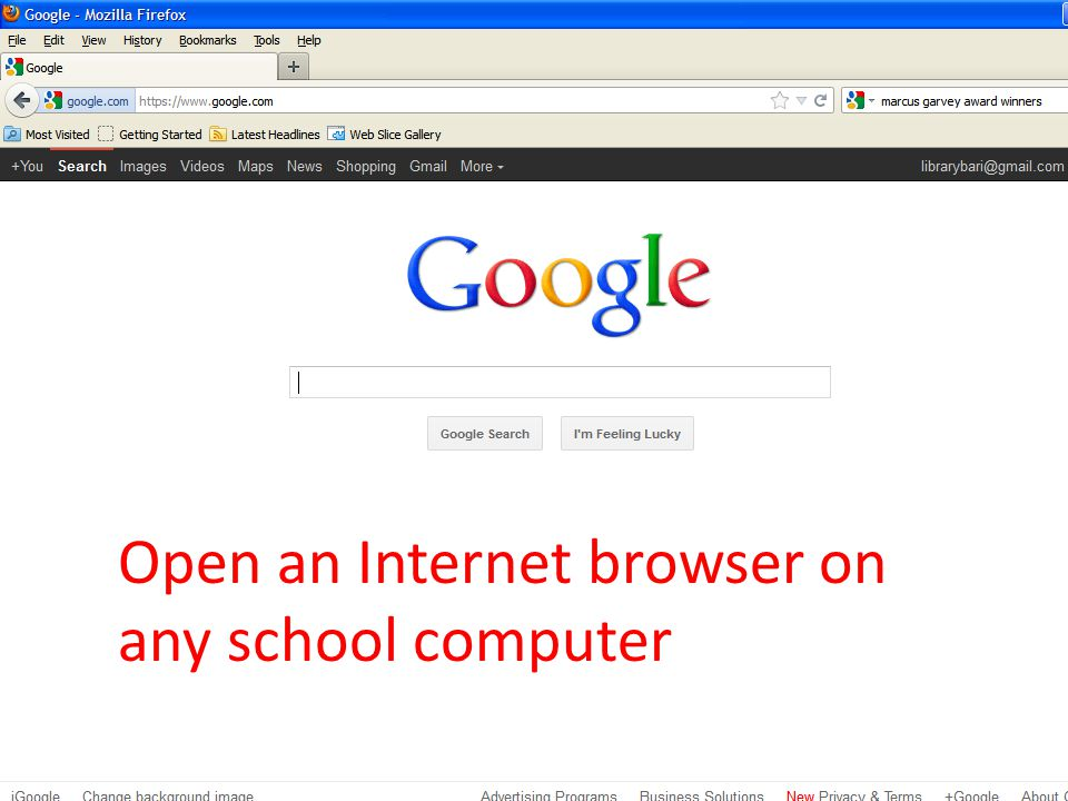 Open an Internet browser on any school computer