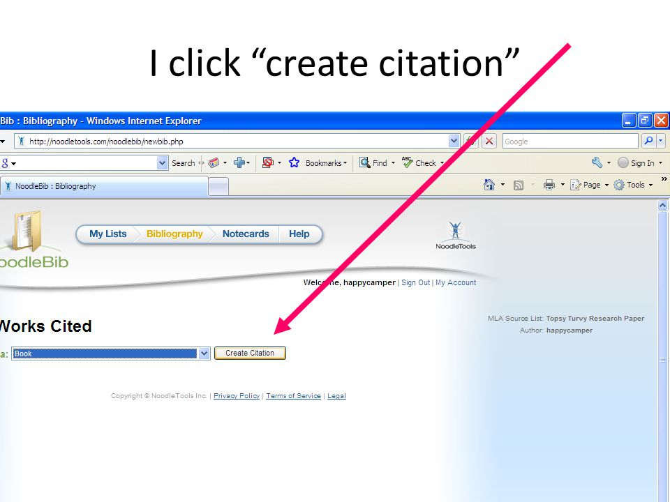 I click create citation