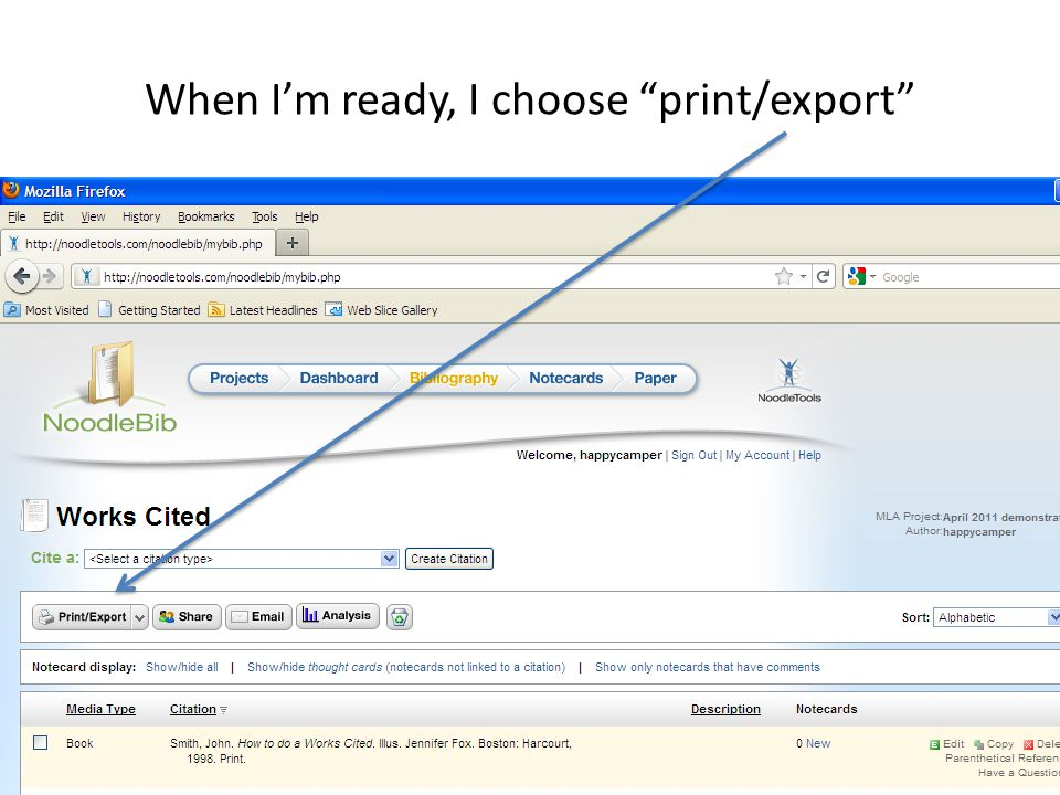 When I'm ready, I choose print/export