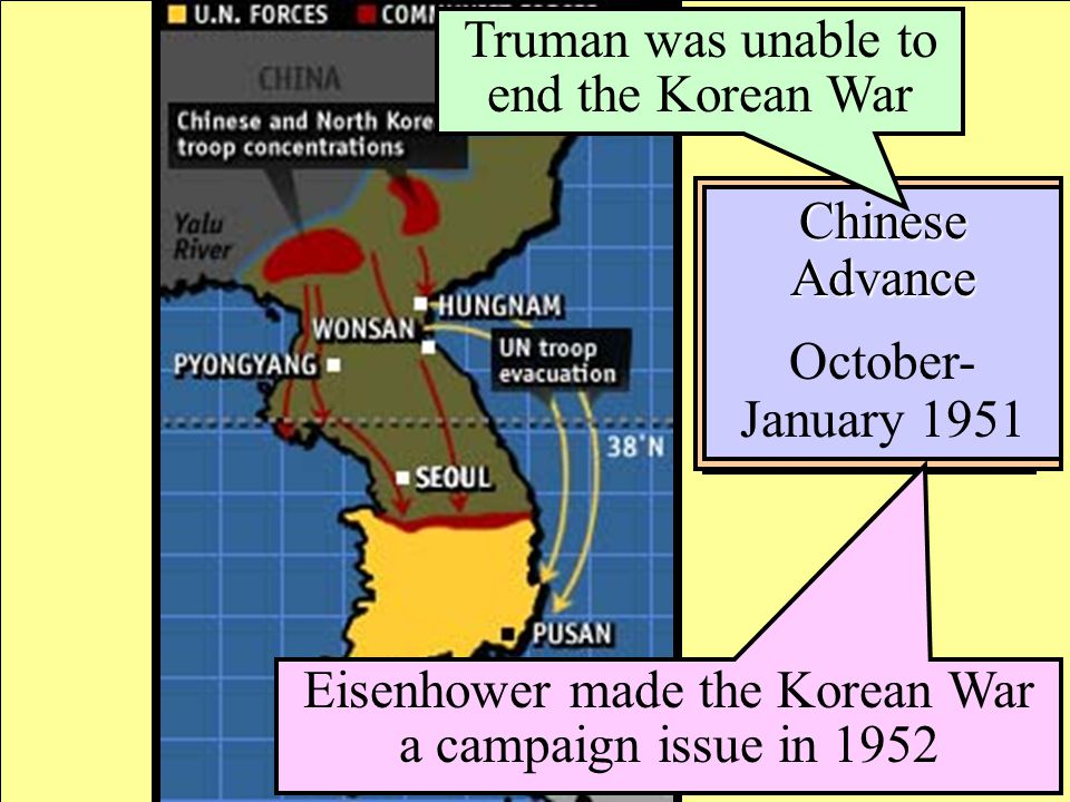 North Korean Invasion June- September 1950 United Nations Counter-Attack September- October 1950 Chinese Advance October- January 1951 Truman was unab