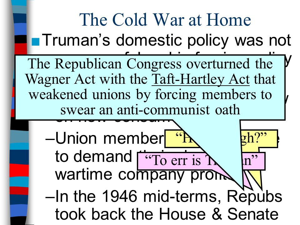 ■Truman's domestic policy was not as successful as his foreign policy –Post-war Americans found prices too high & supply too low on new consumer goods
