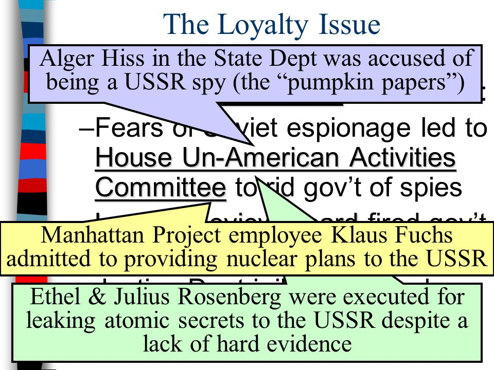The Loyalty Issue 2 nd Red Scare ■The fear of Communism abroad led to a 2 nd Red Scare in America: House Un-American Activities Committee –Fears of So