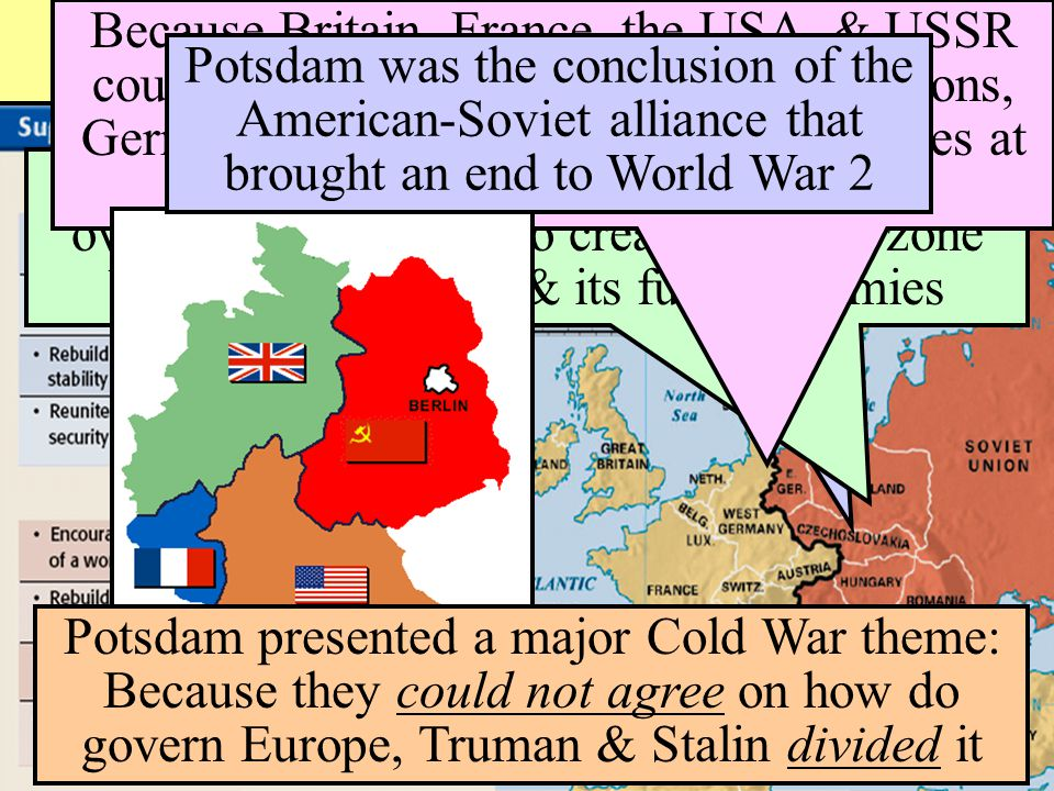 Cold War Divisions At Yalta, Stalin agreed to allow self- determination in Eastern Europe By Potsdam, Stalin had extended his control over Eastern Eur