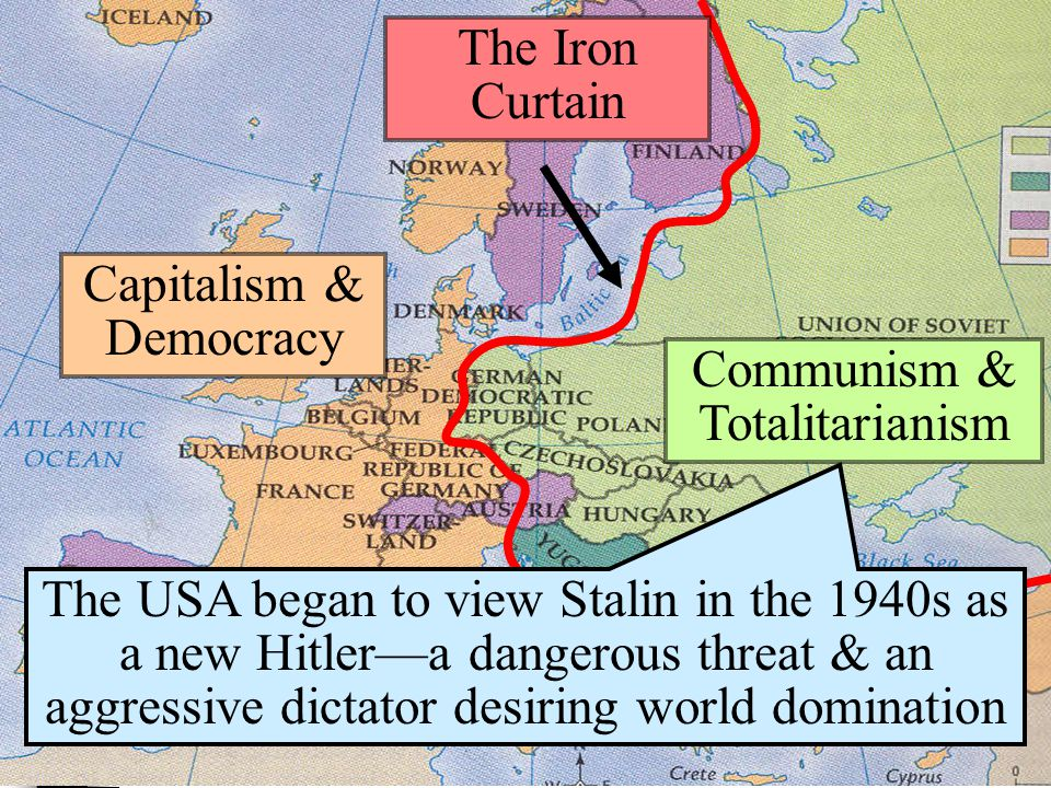 Capitalism & Democracy Communism & Totalitarianism The Iron Curtain The USA began to view Stalin in the 1940s as a new Hitler—a dangerous threat & an