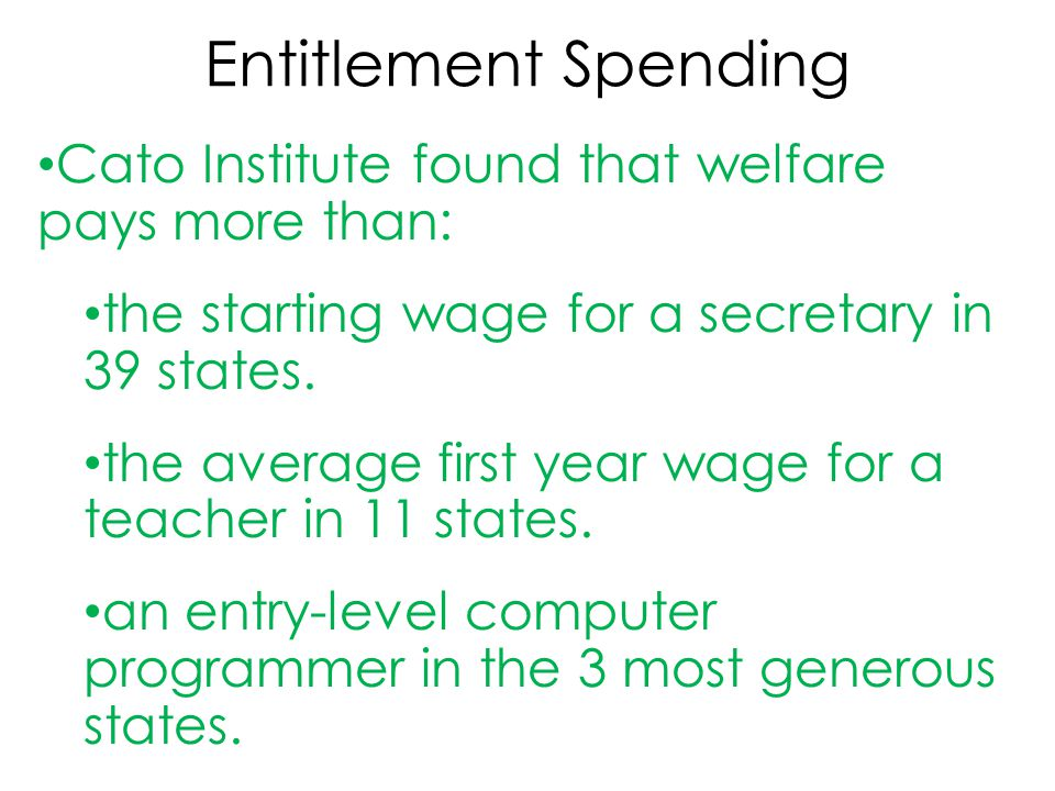 Entitlement Spending Cato Institute found that welfare pays more than: the starting wage for a secretary in 39 states. the average first year wage for