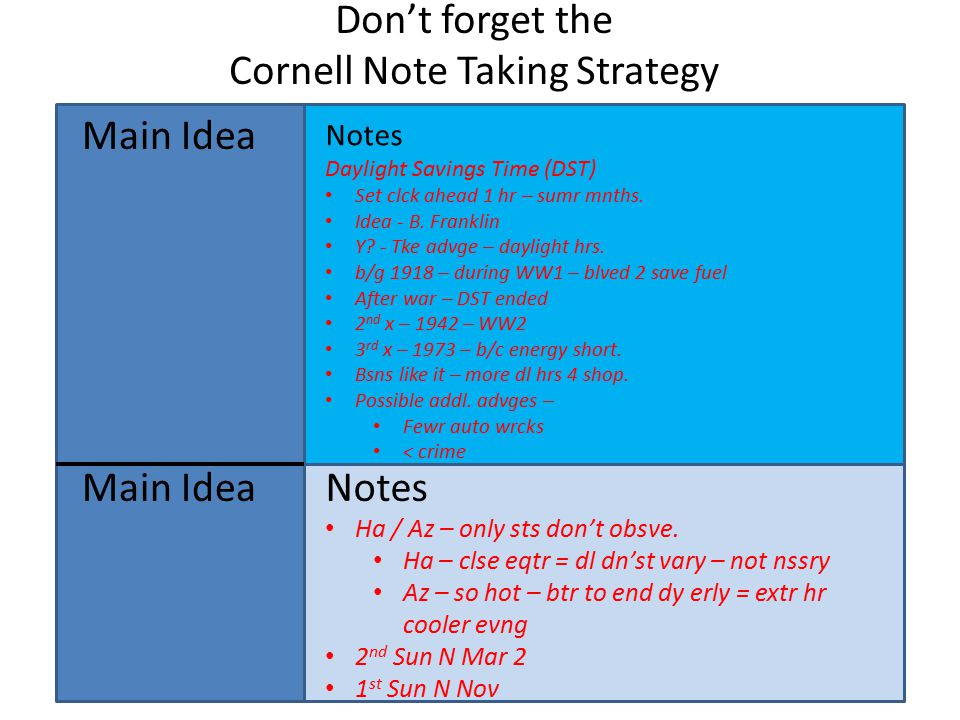 Don't forget the Cornell Note Taking Strategy Main Idea Notes Daylight Savings Time (DST) Set clck ahead 1 hr – sumr mnths.