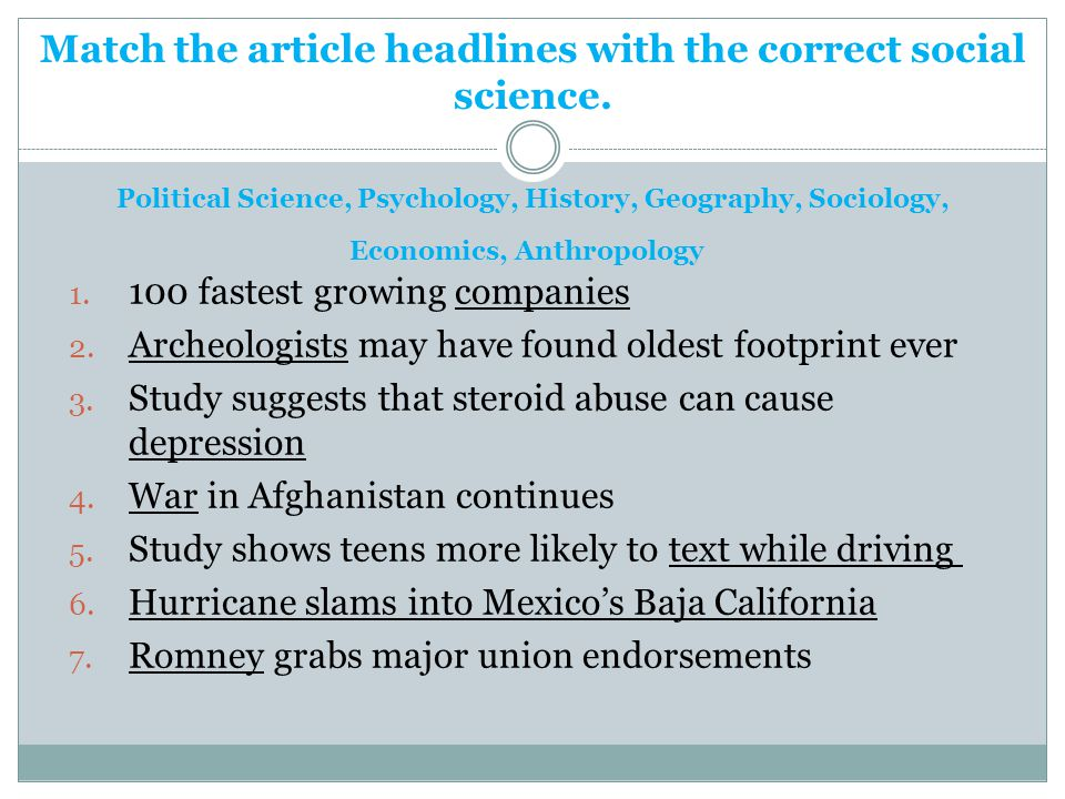 Match the article headlines with the correct social science.