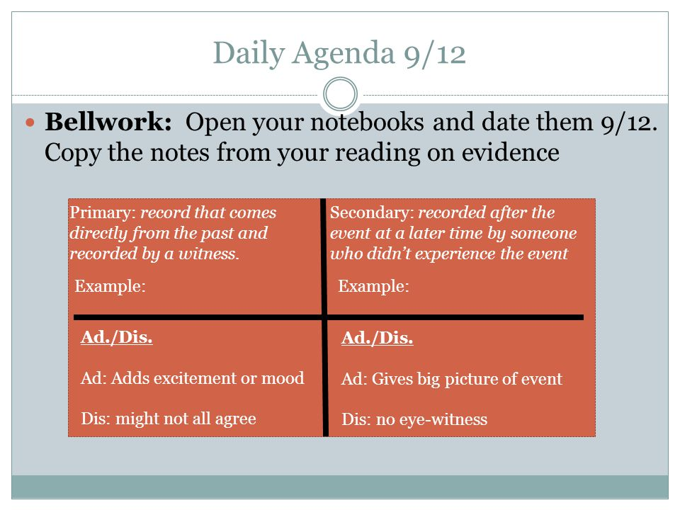 Daily Agenda 9/12 Bellwork: Open your notebooks and date them 9/12.