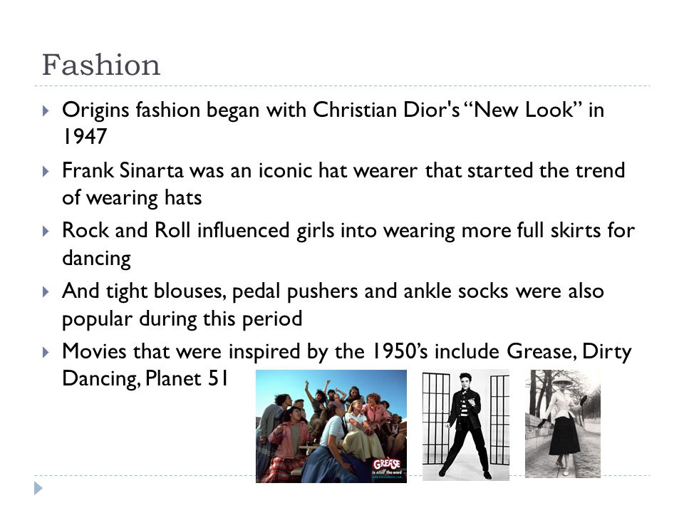 """Fashion  Origins fashion began with Christian Dior's """"New Look"""" in 1947  Frank Sinarta was an iconic hat wearer that started the trend of wearing ha"""