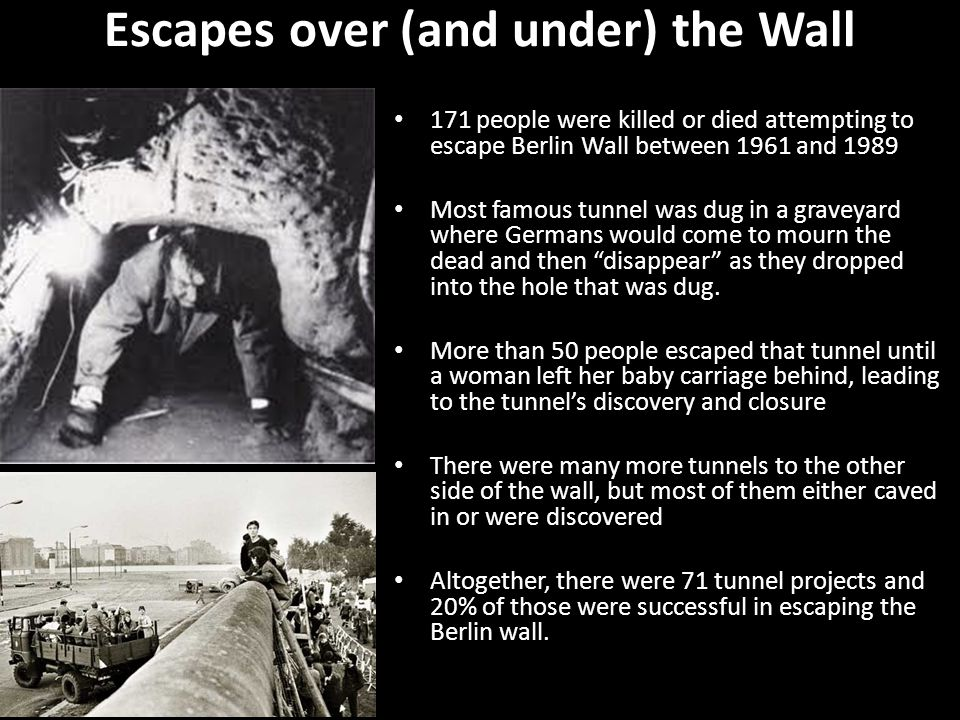 Escapes over (and under) the Wall 171 people were killed or died attempting to escape Berlin Wall between 1961 and 1989 Most famous tunnel was dug in a graveyard where Germans would come to mourn the dead and then disappear as they dropped into the hole that was dug.