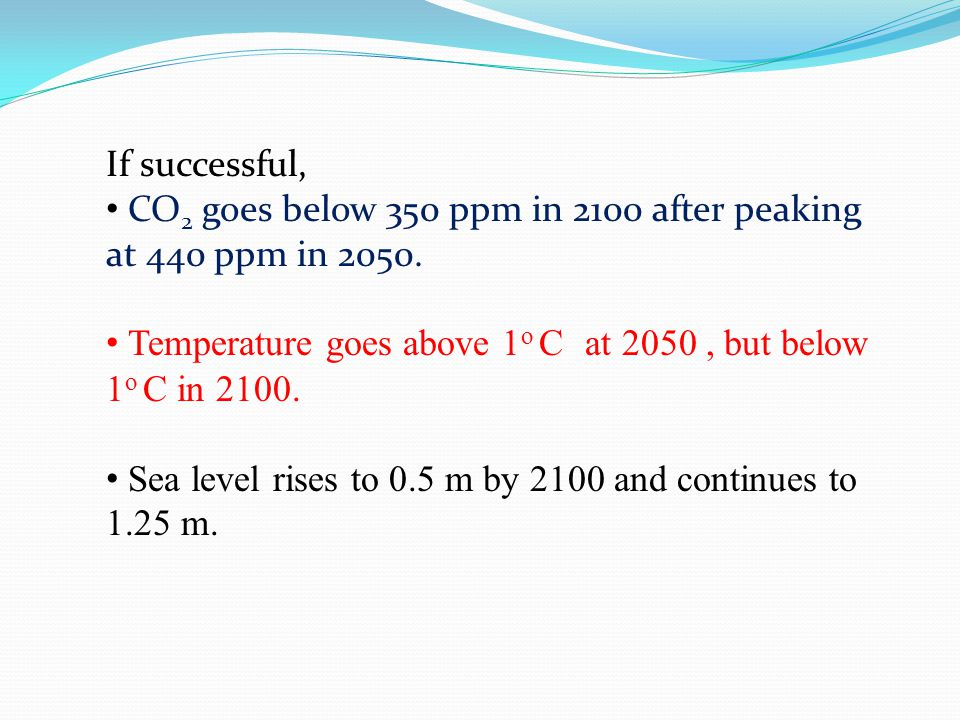 If successful, CO 2 goes below 350 ppm in 2100 after peaking at 440 ppm in 2050.