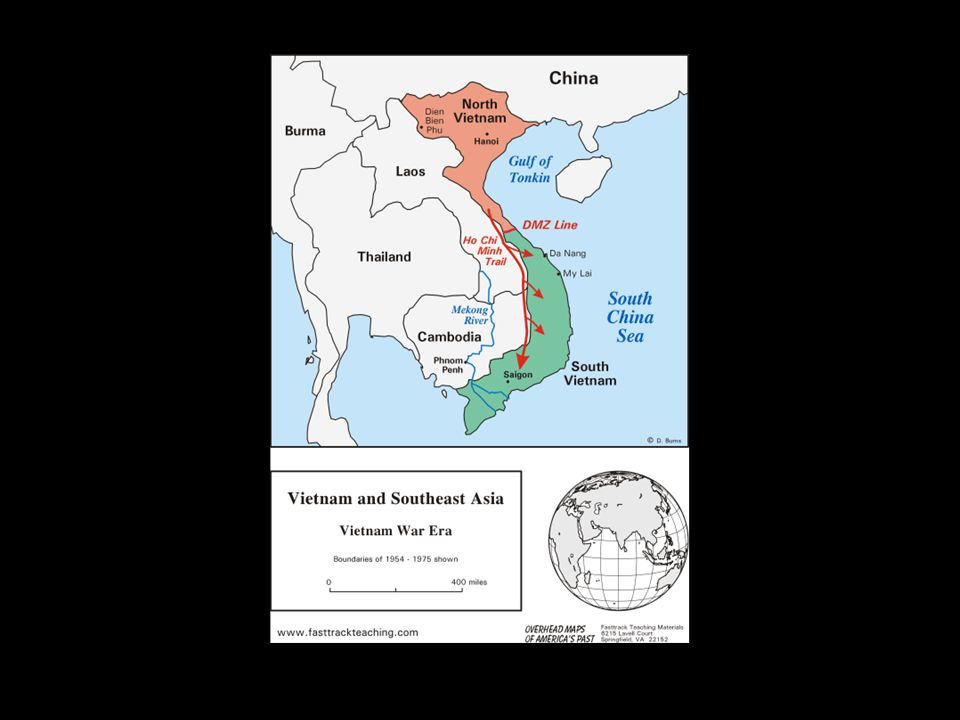 The Vietnam War, 1964-1975 As South Vietnam's President, Ngo Dinh Diem Cancelled 1956 elections to unite the North & South Was supported by Eisenhower with financial aid, then with military advisors Was assassinated during an army coup in 1963
