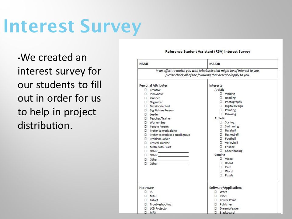 Interest Survey We created an interest survey for our students to fill out in order for us to help in project distribution.