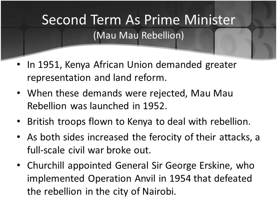 In 1951, Kenya African Union demanded greater representation and land reform.