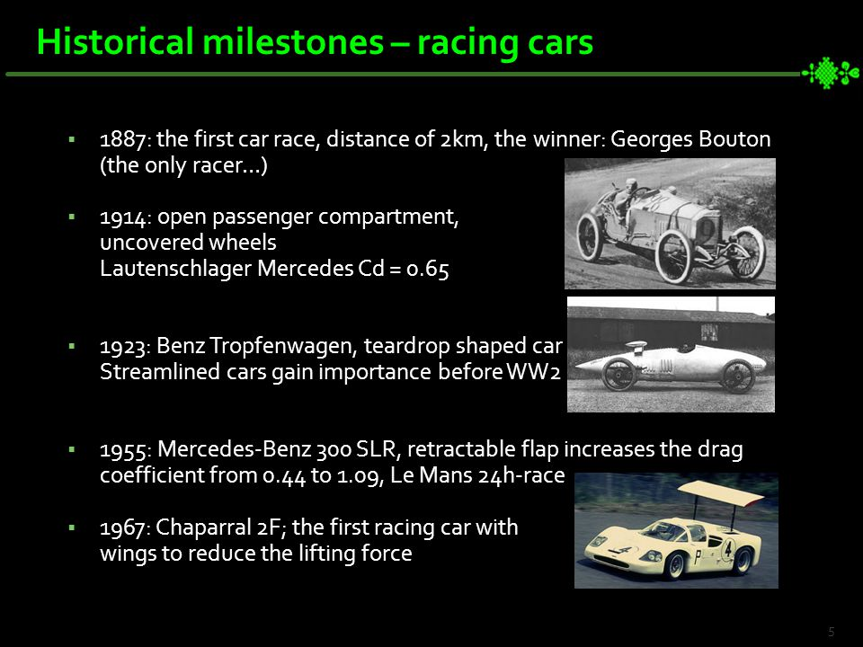  1887: the first car race, distance of 2km, the winner: Georges Bouton (the only racer…)  1914: open passenger compartment, uncovered wheels Lautenschlager Mercedes Cd = 0.65  1923: Benz Tropfenwagen, teardrop shaped car Streamlined cars gain importance before WW2  1955: Mercedes-Benz 300 SLR, retractable flap increases the drag coefficient from 0.44 to 1.09, Le Mans 24h-race  1967: Chaparral 2F; the first racing car with wings to reduce the lifting force 5 Historical milestones – racing cars
