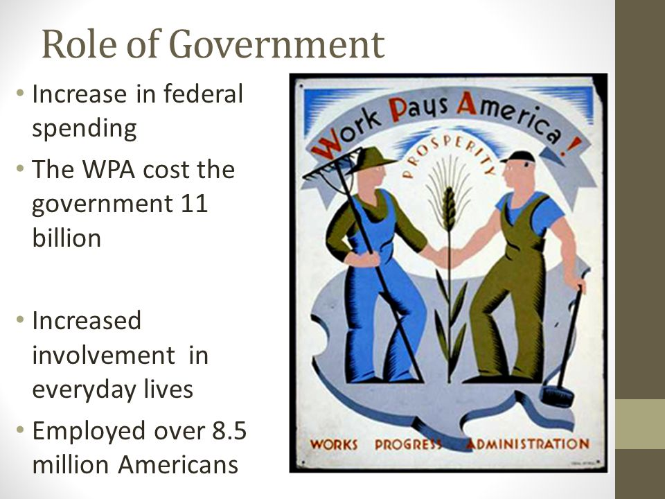 Role of Government Increase in federal spending The WPA cost the government 11 billion Increased involvement in everyday lives Employed over 8.5 million Americans