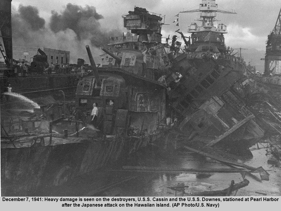 6 December 7, 1941: Heavy damage is seen on the destroyers, U.S.S.