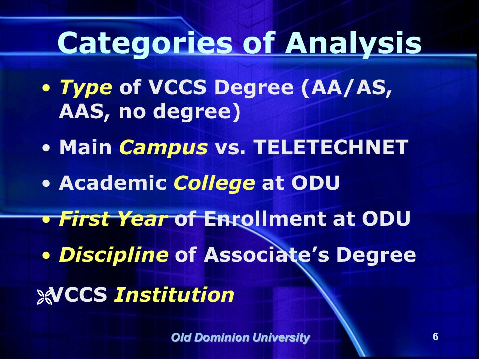 Old Dominion University 7 Outcomes Measures Transfer Hours Hours transferred from main VCCS institution Total hours transferred