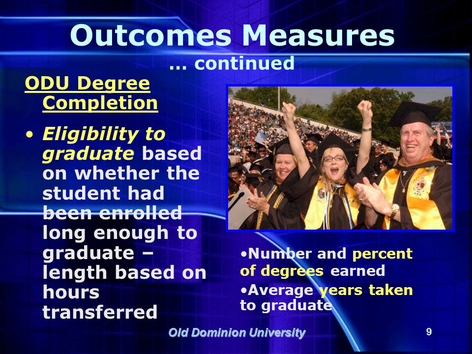 Old Dominion University 10 Outcomes Measures … continued Academic Characteristics Cumulative GPA Average total hours earned at ODU Average total number of semesters enrolled