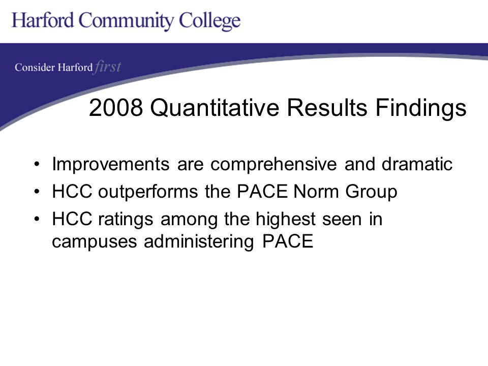 2008 Quantitative Results Findings Improvements are comprehensive and dramatic HCC outperforms the PACE Norm Group HCC ratings among the highest seen in campuses administering PACE