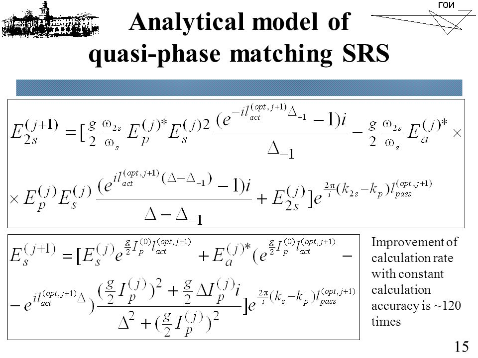 Analytical model of quasi-phase matching SRS 15 Improvement of calculation rate with constant calculation accuracy is ~120 times