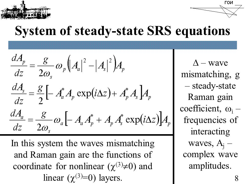 Optimum ratio of input Stokes/pump intensities 9 - There is an optimum value of input Stokes/pump waves intensities ratio.