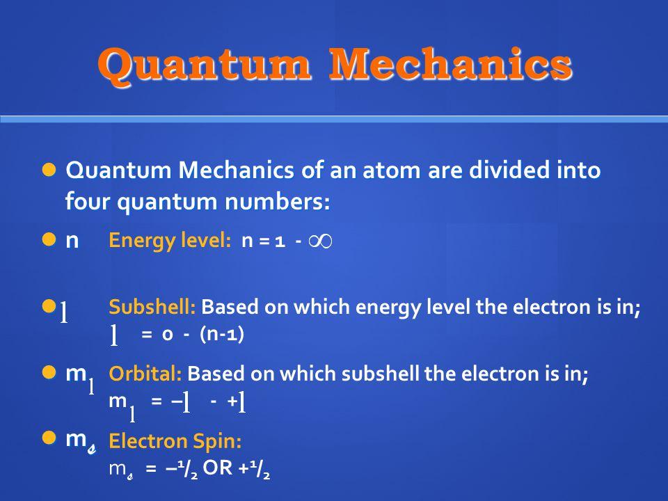 Quantum Mechanics Quantum Mechanics of an atom are divided into four quantum numbers: Quantum Mechanics of an atom are divided into four quantum numbe