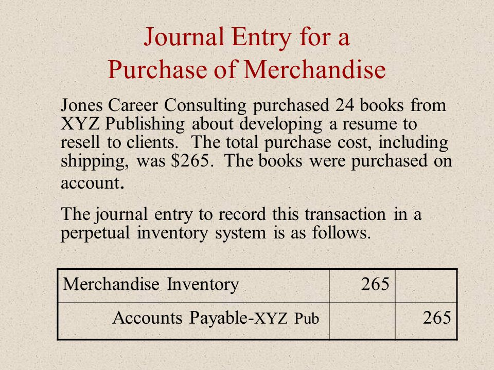 Journal Entry for Payment with a Purchase Discount Now examine the journal entry when the allowance for the four books is taken into account.