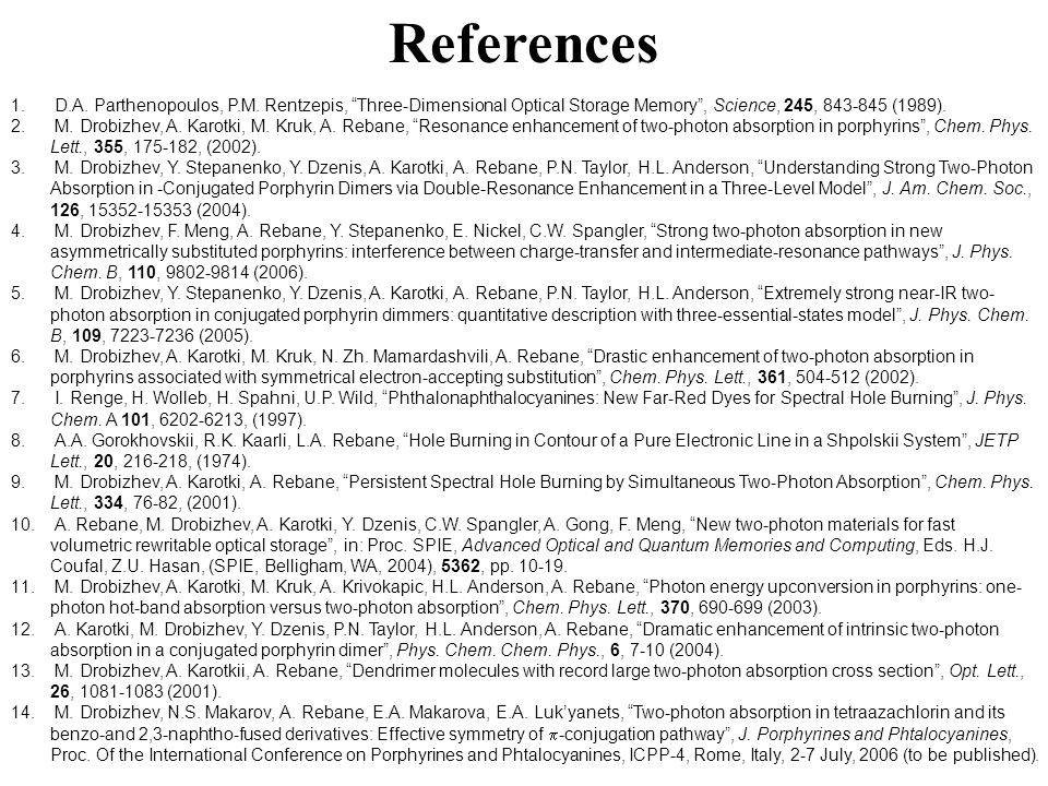 """References 1. D.A. Parthenopoulos, P.M. Rentzepis, """"Three-Dimensional Optical Storage Memory"""", Science, 245, 843-845 (1989). 2. M. Drobizhev, A. Karot"""