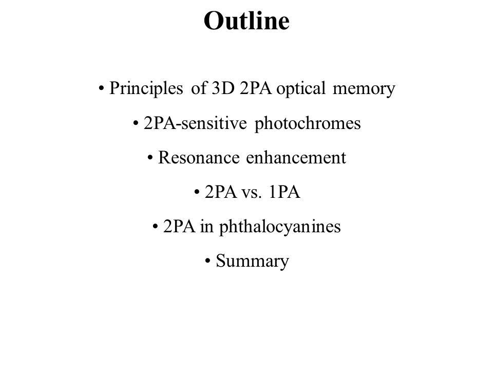Outline Principles of 3D 2PA optical memory 2PA-sensitive photochromes Resonance enhancement 2PA vs.